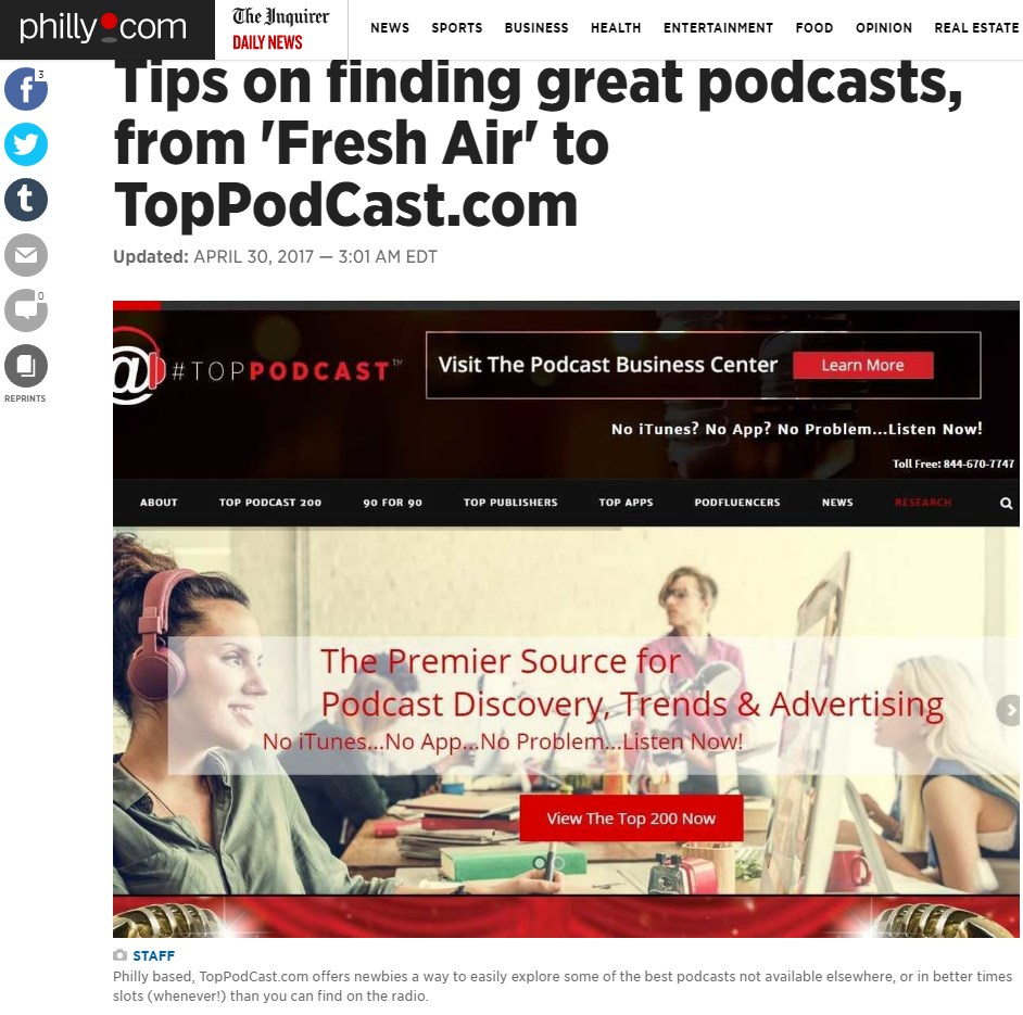 TopPodcast.com Profiled in the Business Section of The Philadelphia Inquirer